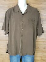 Tommy Bahama Brown 100% Silk Hawaiian Shirt Mens Size XL EUC