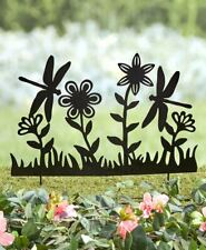 Metal Silhouette Fence Stake Dragonfly Floral Black Garden Yard Outdoor Decor