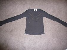 Armani Exchange ladies black long sleeve top with detailing Size XS