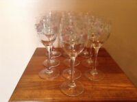 10 pretty Cristal  Luminarc France lavender pink flowers wine glasses