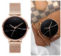 Armbanduhr Damen Marmor Metall Uhr Silber Gold Elegant Rosegold Klassisch Quarz