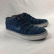 Nike Stefan Janoski Premium Zebra Mid Mens 9 Blue Stripe Skate Shoes
