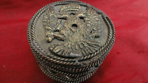ANTIQUE  RUSSIAN DECORATED  PEEL BOX  WHITE METAL