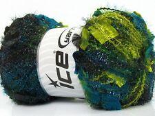 Angelo #41313 Teal Green Black Metallic Butterfly Eyelash Yarn LG 100gram 109yds