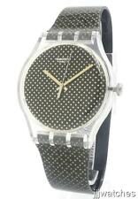 New Swatch Archi-Mix Gridlight Black/Gold Women Watch 42mm SUOK119 $75