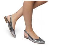 Peter Kaiser Snakeskin Slingback Flat Leather Sandals Silver UK 6 UK 7 rrp £135