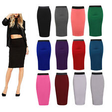 LADIES PLAIN OFFICE WOMENS STRETCH BODYCON MIDI PENCIL SKIRT PLUS SIZE UK 8-26
