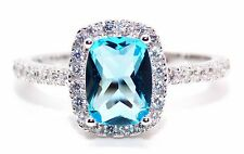 Sterling Silver Sky Blue Topaz And Diamond 3.6ct Ring (925) Size 7 (N)