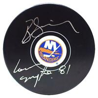 "Butch Goring Signed New York Islanders Puck w/ ""81 Conn Smythe"" Insc - Fanatics"
