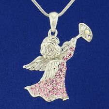 W Swarovski Crystal Angel Of God Guardian Cupid Trumpet Pink Pendant L