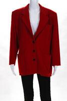 Escada Margaretha Ley Womens Three Button Collared Blazer Red Wool Size IT 42