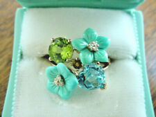 Vintage Carved Turquoise and Gemstone Ring 14k Gold Retro