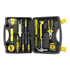 46Pc Yellow Home Repair Hand Tool Set Toolbox Knife Plier Hammer Test Pen Socket