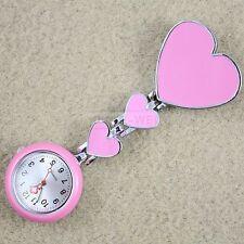 Pink Heart Shaped Nurse Brooch Watch Pocket Portable