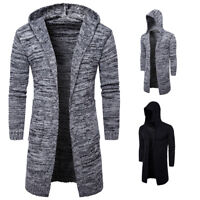 Men's Slim Fit Hooded knit Sweater Fashion Cardigan Trench Long Coat Jacket