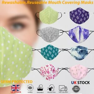Fashion Cotton Face Mask Protective Layered Washable Reusable Breathable
