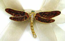 18K GP Dragonfly Swarovski Element Austrian Crystal Rhinestone Brooch Pin