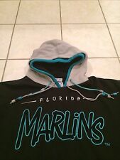 Men's Starter MLB Florida Marlins Sweatshirt Hoodie Jacket Black Teal Retro Vtg