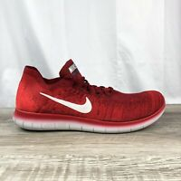 "Nike Free RN Flyknit 2017 ""Team Red"" Running Shoes 880843-600 Men's Size 12"