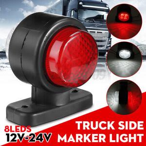 10V -30V 8 LED Waterproof Side Marker Light Lamp Red & White For Traile