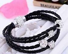 schwarz Leder Umhang Shamballa Armband magnetisch Strassstein Schnalle Armband