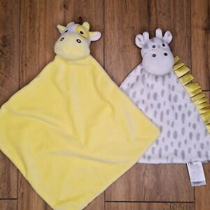 Baby COMFORTERS bundle (2pcs) Yellow White Giraffe Security Blankets Mothercare