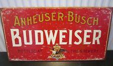 BUDWEISER/BUD VINTAGE-STYLE  METAL  WALL SIGN 41x21cm GARAGE/DINER/DEN/SHED
