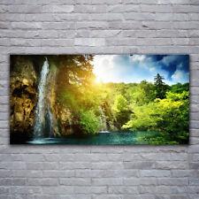 Wandbilder Glasbilder Druck auf Glas 120x60 Wasserfall Bäume Landschaft