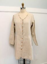Vintage Flax by Jeanne Engelhart Tunic Top Sz S 100% Linen Tan Button Front