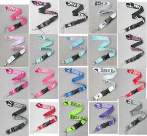 10xwhite/red/black neck Lanyard ID Badge Detachable Keychain Strap 20 color pick