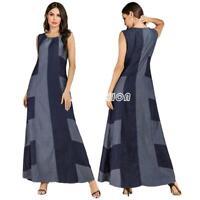 XL-4XL Women Plus Size Maxi Long Dress Casual Sleeveless Denim Loose Dresses