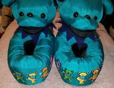 BLUE GRATEFUL DEAD DANCING BEAR SLIPPERS PAWS MED SPENCER GIFT PLUSH NOS RARE