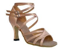 "1662B black Brown Salsa Ballroom Latin Leather Dance Shoes 2.5"" / 3""  Very fine"