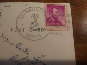 US Postage 4 Cent Lincoln Pink Ink Stamp Post Mark 1966 On Des Moines River Post