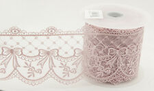 Vintage Pink Embroidered Tulle Lace Ribbon 95mm x 1m - Bows Flowers & Swags