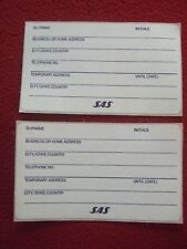 AIRLINE BAGGAGE STICKERS X 2 SAS 1980'S / 90'S VINTAGE