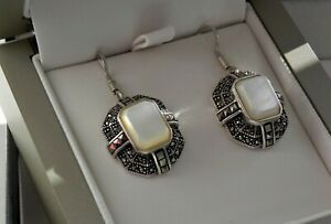 ✨GLEAMING✨ 7g sterling silver 925 MOP marcasite Thailand drop dangle earrings