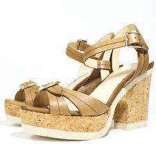 Jimmy Choo Sz 36 Brown Leather Naylor Cork Platform Heel Sandals Ankle Strap