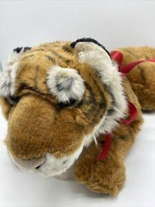 FAO Schwarz Plush Bengal Tiger Orange Black White Toys R Us #5F5F65D Laying