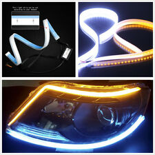 2 Pcs 60cm Flexible Ultrafine Ultra Thin LED Car Flowing Turn Signal Lights DRL