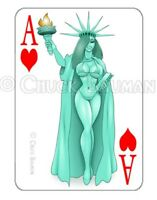 Jessica Rabbit Statue of Liberty playing card decal sexy pin-up babe sticker