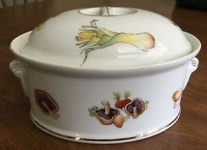 Lourioux Le Faune Covered Casserole Dish Vegetables Porcelain Made in France