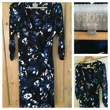Ghost London UK 14 Black Blue White Ruched Faux Wrap Dress 3/4 Sleeve Occasion