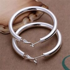 Women Fashion Jewelry 925 Sterling Silver Round Hoop Dangle Earrings Studs Tide