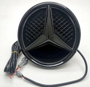 Illuminated LED Light Front Grill Star Emblem Black For Mercedes Benz C W205 14+