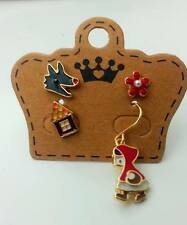 E819 Little Red Riding Hood Bad Wolf Little Red Cap 4 piece Set Earrings US