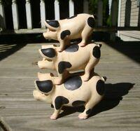 Primitive Farmhouse Decor Vintage Style Cast Iron 3 Pigs Doorstop Figure Country