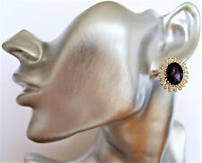 Elegant Oval Purple Crystal Cluster Stud Earrings with Clear Diamante Gold Tone