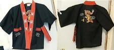 Double Dragons Embroidered Martial Arts Coat Costume Uniform Robe Black Sz 2/4