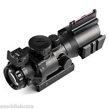 Tactical 4X32 RGB Prismatic Rifle Scope Compact Fiber Sight 20MM Rail Hunting